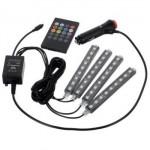 Φώτα Εσωτερικού Χώρου Αυτοκινήτου RGB LED 12V με Τηλεχειρισμό - Σετ των 4 Τεμαχίων