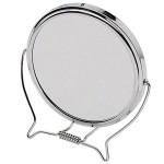Καθρέπτης Μπάνιου Μακιγιάζ Inox 17cm 2 όψεων με μεγέθυνση 3x και 360 περιστροφή
