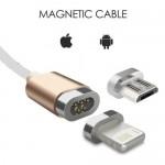 Μαγνητικό Καλώδιο Φόρτισης & Data 2 σε 1 Micro Usb & Lightning για iPhone 1m