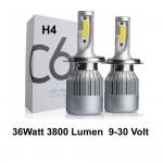 Φώτα Αυτοκινήτου COB LED H4 6000Κ 36W 3800L 9-30Volt C6