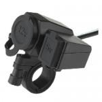 Αδιάβροχος Φορτιστής Θύρα USB 5V & Αναπτήρα 12V για Μοτοσυκλέτα 2,1 AMPS