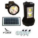 Ηλιακό Πακέτο Φωτισμού με Διπλό Φακό Θύρα USB + 3 Λάμπες Led GD-8045