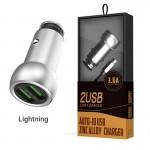 Ταχυ-φορτιστής Αυτοκινήτου LDNIO 3.6A με 2 θύρες USB & Καλώδιο Lightning
