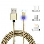 Μαγνητικό Καλώδιο Φόρτισης LED & Μεταφοράς Δεδομένων 3 σε 1 Micro Usb & Lightning & Type C