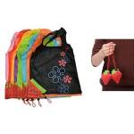 Επαναχρησιμοποιούμενες Οικολογικές Τσάντες για Ψώνια - Πουγκί Φράουλα - Σετ 4 Τεμαχίων