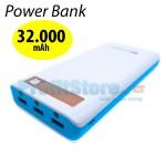 Υψηλής Απόδοσης Power Bank 32.000mAh - 3x2,1A USB με Οθόνη & Φακό LED