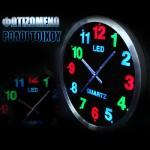 Εντυπωσιακό Ρολόι Τοίχου με πολύχρωμο φωτισμό LED