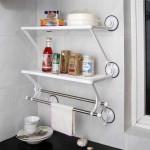 Διπλή Ραφιέρα Κουζίνας / Μπάνιου με Πετσετοκρεμάστρα και μηχανισμό Βεντούζας