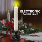Διακοσμητικό Ρετρό Κερί Μπαταρίας με LED Εφέ Φλόγας 6 x 22cm - Electronic Candle Lamp