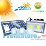 Τηλεχειριζόμενο Ηλιακό Σύστημα Φωτισμού & Φόρτισης με Πάνελ 3,5W, Μπαταρία, Φωτιστικό - Προβολέα 400LM + 3 Λάμπες LED 150 Lumens