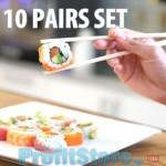 Επαναχρησιμοποιούμενα Ανοιχτόχρωμα Ξυλάκια - Τσοπστικς για Κινέζικο και Σούσι Σετ 10 pairs - Bamboo Chopstick