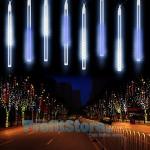 Χριστουγεννιάτικη LED βροχή μετεωριτών 8 τεμάχια x 50cm Λευκό / Μπλε