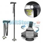 Πτυσσόμενο Μπαστούνι Στήριξης i-Asist με Ρύθμιση Ύψους, Τριπλό Αντικραδασμικό Πέλμα & Ισχυρό Φακό LED - Για Πεζοπορία, Αναβάτες, Ηλικιωμένους