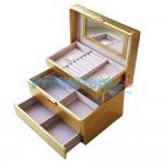 Κοσμηματοθήκη - Μπιζουτιέρα Δερματίνης Κροκό Χρυσό - GO-1613
