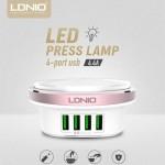 Λαμπάκι - Φωτάκι Νυκτός με 4 Εξόδους USB - 4.4A-Ldnio Night-light Charger 4x USB Wall Adapter A4406