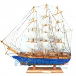 Χριστουγεννιάτικο Ξύλινο Καράβι Μεγάλο Blue Label - Χειροποίητο Διακοσμητικό Ιστιοφόρο 45 x 43 x 7,5cm