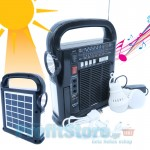 Ηλιακό Σύστημα Ήχου, Φωτισμού & Φόρτισης με Πάνελ, Μπαταρία, Φακό & Φωτιστικό, Ηχοσύστημα Mp3/USB/SD/FM Radio Player & 2 Λάμπες LED - Solar System