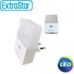 Φωτάκι Νυκτός Αυτόματο LED ExtraStar 0,2W με Ψυχρό Φως