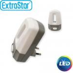Φωτάκι Νυκτός LED ExtraStar με Διακοπτη 1W με Ψυχρό Φως