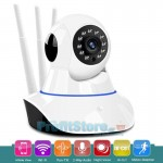 Ασύρματη IP WiFi/Ethernet Κάμερα HD Pan/Tilt με Νυχτερινή Λήψη, Ανιχνευτή Κίνησης, Ειδοποίηση στο Κινητό, Μικρόφωνο, Ηχείο, Σειρήνα, 3 Κεραίες & SD