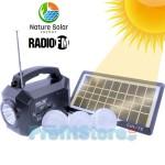 Ηλιακό Πακέτο Σύστημα Φωτισμού - Φακός - Φωτιστικό με Πάνελ, Φορτιστή & Ηχείο Ραδιόφωνο FM/USB/SD MP3 Player με 3 Λάμπες LED 100 Lumens