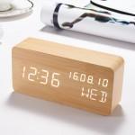 Επαναφορτιζόμενο Ξύλινο Vintage Ρολόι Ημερολόγιο, Ξυπνητήρι, Θερμόμετρο - Wood Style Digital LED Clock
