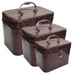 Νεσεσέρ - Κουτί - Βαλιτσάκι Ταξιδιού για Καλλυντικά Σετ 3 σε 1 Καφέ - Travel Makeup Leather Box 3 in 1