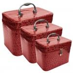 Νεσεσέρ - Κουτί - Βαλιτσάκι Ταξιδιού για Καλλυντικά Σετ 3 σε 1 Κόκκινο - Travel Makeup Leather Box 3 in 1