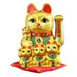 Διακοσμητική Τυχερή Χρυσή Γάτα Καλωσορίσματος με 4 Γατάκια - Feng Shui Welcome Cat 26cm