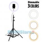 Φωτογραφικό Φωτιστικό Δαχτυλίδι Ring Lamp Light LED USB 26cm με 3 Χρώματα Φωτισμού, Dimmer, Μεγάλο Τρίποδο & Βάση για Κάμερα ή Κινητό