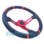 Τιμόνι Αυτοκινήτου Δερμάτινο Αγωνιστικού Τύπου Carbon 34cm & Βαθύ 9,6cm - Μαύρο Κόκκινο