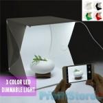 Μίνι Αναδιπλούμενο Στούντιο Φωτογράφισης με 3 Χρώματα Φωτισμού Cool Warm, Ρυθμιζόμενη Ένταση 40x40cm με 2x Φωτισμό LED & 4 Χρώματα Background