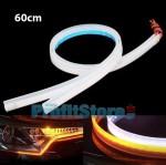 2x Εύκαμπτη Διακοσμητική Ταινία LED για Φανάρι με Τρεχούμενο Φλας που Κόβεται - Φώτα Ημέρας Αυτοκινήτου - 6000Κ Ψυχρό Λευκό 60cm