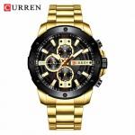 Αδιάβροχο Χρυσό-Μαύρο Ανδρικό Ρολόι CURREN