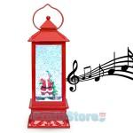 Ηλεκτρικό Χριστουγεννιάτικο Μουσικό Διακοσμητικό Φωτιστικό Φανάρι Χιονόμπαλα USB με Αιωρούμενο Glitter 'Άγιος Βασίλης