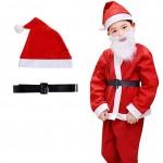 Χριστουγεννιάτικη Στολή Παιδική Large Άγιος Βασίλης Santa Claus - Πλήρες Σετ με Παντελόνι, Τζάκετ, Ζώνη, Σκούφο & Μούσι