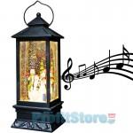 Ηλεκτρικό Χριστουγεννιάτικο Μουσικό Διακοσμητικό Φωτιστικό Φανάρι Χιονόμπαλα USB με Αιωρούμενο Glitter - Χιονάνθρωπος