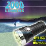Αδιάβροχος Φακός Υπέρ - Υψηλής Φωτεινότητας CREE LED 2000 Lumens Αφής με 5 Λειτουργίες Φωτισμού & 4 x 18650 Μπαταρίες Επαναφορτιζόμενες USB