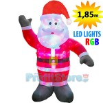 Νέος Φουσκωτός Άγιος Βασίλης 1,85m με Φωτισμό RGB LED Πολύχρωμο - Χριστουγεννιάτικος Διακοσμητικός Άη Βασίλης