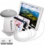 Βάση Φόρτισης 5 x USB Fast Charge & LED Φωτιστικό Γραφείου - Επιτραπέζιος Desktor Φορτιστής 5-Port Quick Charger