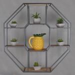 Επιτοίχια Πολυγωνική Ραφιέρα από Ξύλο και Μέταλλο 74x73x20cm