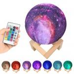Πολύχρωμο USB Φωτιστικό Γαλαξίας - Πλανήτης 12εκ RGB LED 16 Χρωμάτων με Ξύλινη Βάση & Χειριστήριο