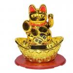 Χρυσή Γάτα Καλωσορίσματος που Λειτουργεί με τον Ηλιο Χωρίς Μπαταρίες - Feng Shui Welcome Cat Solar 13cm