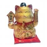 Διακοσμητική Τυχερή Χρυσή Γάτα Καλωσορίσματος σε Μαξιλάρι - Feng Shui Welcome Cat 20cm