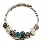 Γυναικείο Βραχιόλι Τύπου Pandora με Διάφορα Γούρια - Crown Turquoise