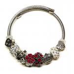 Γυναικείο Βραχιόλι Τύπου Pandora με Διάφορα Γούρια - Crown Red