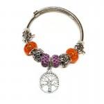 Γυναικείο Βραχιόλι Τύπου Pandora με Διάφορα Γούρια - Tree Orange