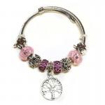 Γυναικείο Βραχιόλι Τύπου Pandora με Διάφορα Γούρια - Tree Pink