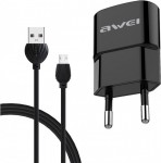 Σετ Φορτιστής - Καλώδιο Φόρτισης AWEI Micro USB 2.1A 1.2m