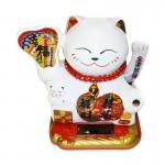Λευκή Γάτα Καλωσορίσματος που Λειτουργεί με τον Ηλιο Χωρίς Μπαταρίες - Feng Shui Welcome Cat Solar 9cm